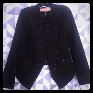 Black Structured Military Band Jacket Dolls Kill